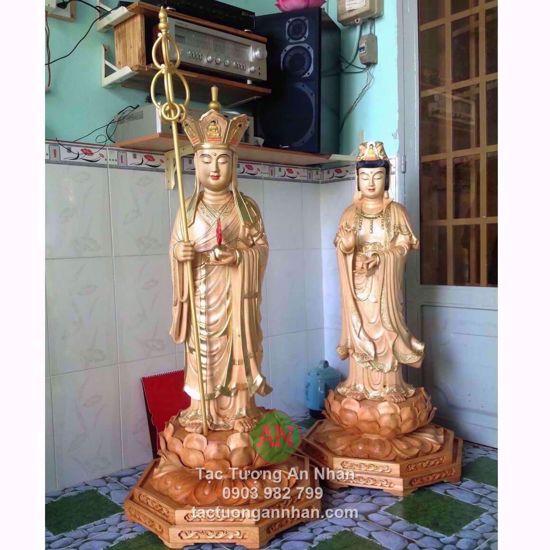Tượng Gỗ Phật Địa Tạng Và Quan Thế Âm Bồ Tát