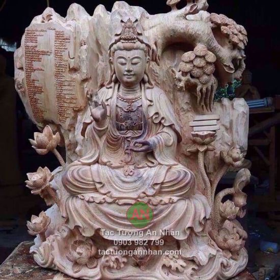 Tượng Phật Quan Âm Ngồi Bằng Gỗ