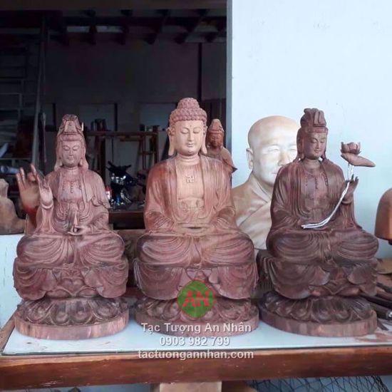 Bộ Tượng Tam Thế Phật Bằng Gỗ