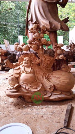 Tượng Gỗ Phật Di Lạc Kéo Bao